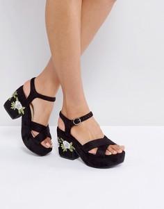 Босоножки на платформе с цветочной вышивкой Truffle - Черный