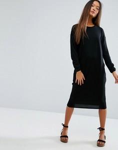 Платье миди с круглым вырезом горловины ASOS - Черный