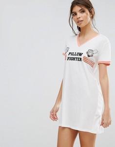 Ночная рубашка с принтом Pillow Fighter Mink Pink - Белый