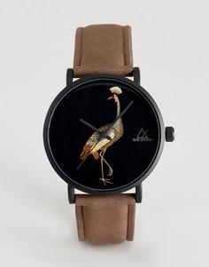 Часы со светло-коричневым ремешком из искусственной кожи и принтом птицы ASOS - Рыжий