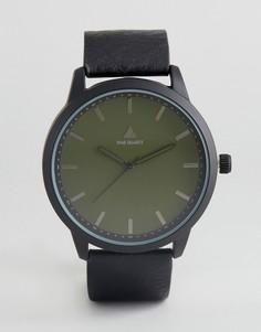 Часы с черным ремешком из искусственной кожи и зеленым циферблатом ASOS - Черный