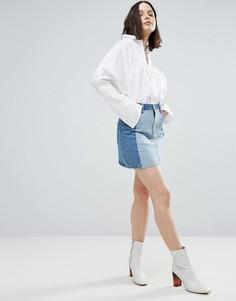 Двухцветная джинсовая мини-юбка Twiin Levels - Синий Twin