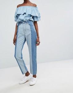 Двухцветные джинсы в винтажном стиле Twiin Levels - Синий Twin