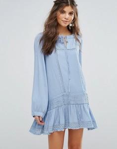 Фестивальное свободное платье с оборкой Somedays Lovin Eldora - Синий