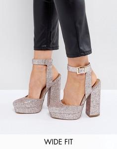 Туфли на платформе для широкой стопы ASOS PINATA - Розовый