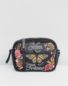 Кожаная сумка с вышивкой и заклепками ASOS My Treasure - Черный