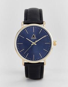Часы с темно-синим циферблатом и черным кожаным ремешком ASOS - Черный