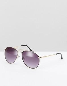 Черные солнцезащитные очки-авиаторы с золотистыми металлическими дужками ASOS - Черный