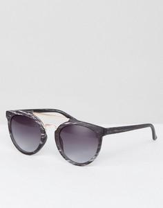 Круглые солнцезащитные очки с мраморным эффектом и золотистой планкой сверху ASOS - Черный