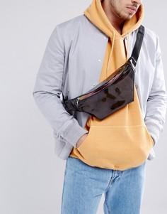 Прозрачная сумка-кошелек на пояс с переливающейся молнией ASOS - Черный