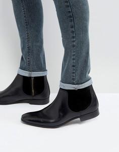 Черные ботинки челси из кожи и замши ASOS - Черный