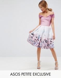 Платье с открытыми плечами и цветочным принтом ASOS PETITE SALON - Мульти