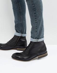 Черные кожаные ботинки-броги с подошвой натурального цвета ASOS - Черный
