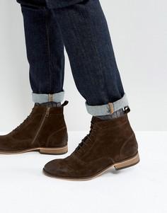 Коричневые замшевые ботинки на шнуровке со светлой подошвой ASOS - Коричневый