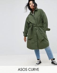 Хлопковая куртка с завязкой на поясе ASOS CURVE - Зеленый