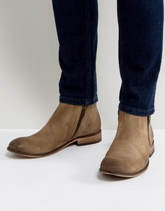 Песочные замшевые ботинки челси с двумя молниями ASOS - Светло-серый