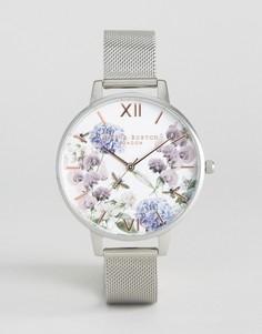 Часы с сетчатым ремешком и цветочным принтом Olivia Burton Parlour Be - Серебряный