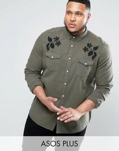 Джинсовая рубашка в стиле вестерн с вышивкой ASOS PLUS - Зеленый