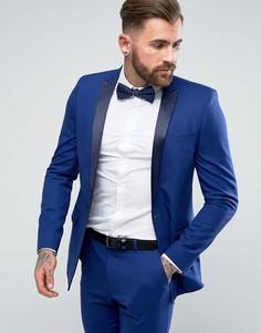 Синий облегающий пиджак-смокинг ASOS - Синий