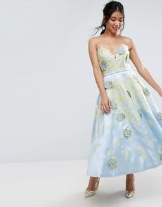 Платье миди для выпускного с контрастной цветочной вышивкой ASOS SALON - Мульти