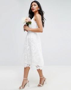 Кружевное платье миди на тонких бретельках ASOS BRIDAL - Белый