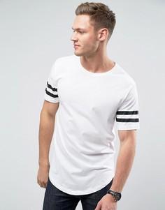 Длинная футболка с закругленным краем и полосками на рукавах Troy - Белый