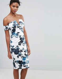 Платье-футляр с цветочным принтом и открытыми плечами Parisian - Белый
