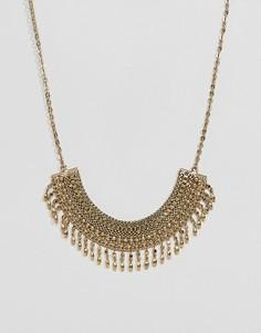 Многоярусное позолоченное ожерелье-цепочка Pieces - Золотой