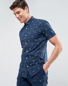 Рубашка со сплошным принтом Produkt - Темно-синий