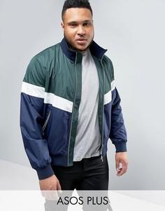 Спортивная куртка колор блок на молнии ASOS PLUS - Зеленый
