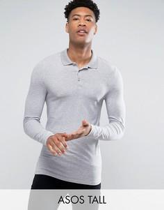 Серая меланжевая обтягивающая футболка-поло с длинными рукавами ASOS TALL - Серый