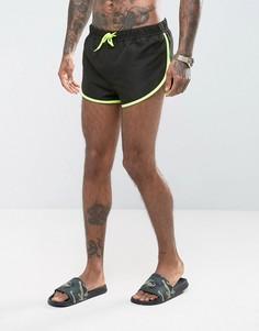 Черные короткие шорты для плавания с разрезами по бокам ASOS - Черный