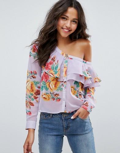 Сиреневая блузка на одно плечо с цветами ASOS - Мульти