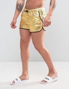 Золотистые короткие шорты для плавания с эффектом металлик ASOS - Золотой