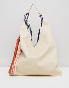 Сумка на плечо с контрастными кисточками Yoki Fashions - Бежевый