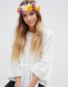 Фестивальная повязка на голову с разноцветными цветами ASOS - Мульти