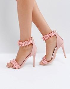 Босоножки на каблуке с рюшами Missguided - Розовый