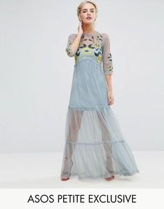 Платье макси с вышивкой ASOS PETITE - Синий