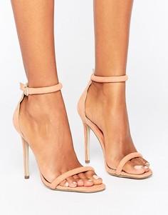 Босоножки на каблуке с ремешком вокруг щиколотки Missguided Barely There - Розовый