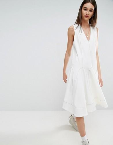 Свободное платье миди с контрастной отделкой воротника ASOS WHITE - Белый