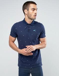 Темно-синяя облегающая футболка-поло со сплошным принтом Hollister - Темно-синий
