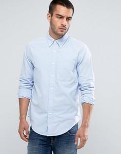 Облегающая оксфордская рубашка в синюю полоску с карманом Abercrombie & Fitch - Синий