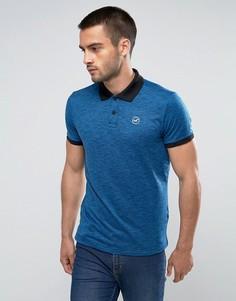 Синее меланжевое поло с контрастным воротником Hollister - Темно-синий