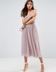 Платье миди в стиле колор блок со сборками ASOS WEDDING - Фиолетовый