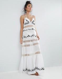 Пляжное платье макси с оборкой на подоле и вышивкой ASOS - Мульти