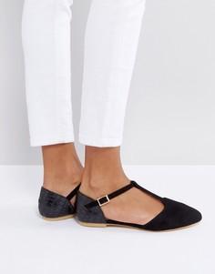Туфли с острым носком и Т-образными ремешками London Rebel - Черный