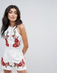 Ромпер с цветочной вышивкой Parisian - Белый