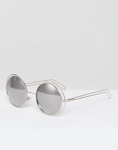 Круглые солнцезащитные очки в металлической оправе Missguided - Серебряный