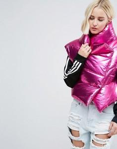 Броская дутая куртка цвета металлик без рукавов ASOS - Фиолетовый