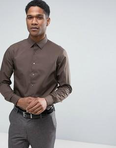 Стретчевая рубашка суперзауженного кроя Calvin Klein - Коричневый